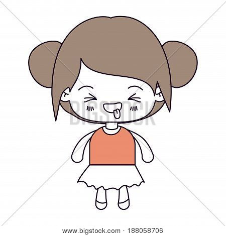 silhouette color sections and light brown hair of kawaii little girl with collected hair and facial expression unpleasant vector illustration
