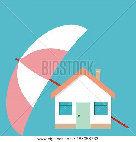 Home protection plan concept. Vector illustration in flat design. Umbrella protect house