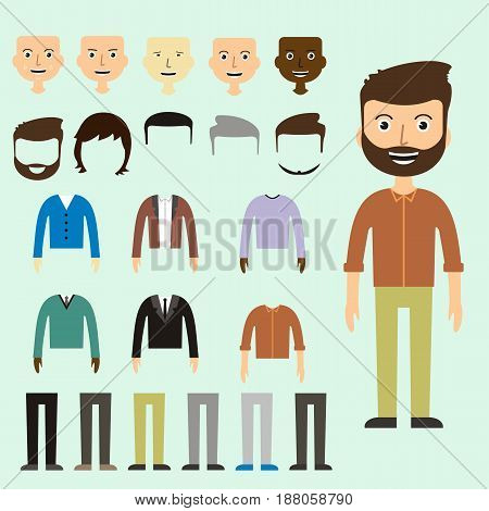 Vector set of dress up constructor with different men in trendy flat style. Flat man faces icon creator