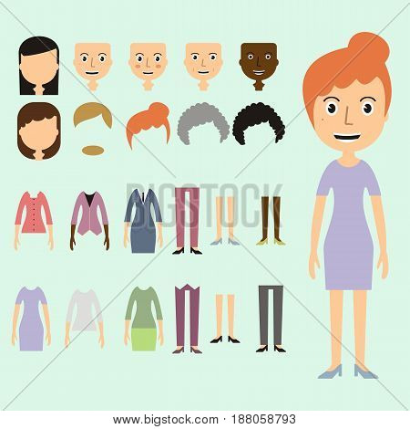 Vector set of dress up constructor with different business women haircuts lips dress wear in trendy flat style. Flat faces icon creato