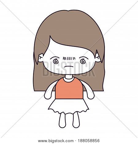 silhouette color sections and light brown hair of kawaii little girl with straight hair and facial expression bored vector illustration