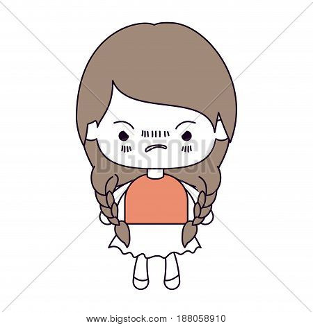 silhouette color sections and light brown hair of kawaii little girl with braided hair and facial expression angry vector illustration