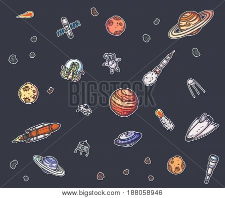 Astronomy doodles vector concept. Hand drawn space illustrations.
