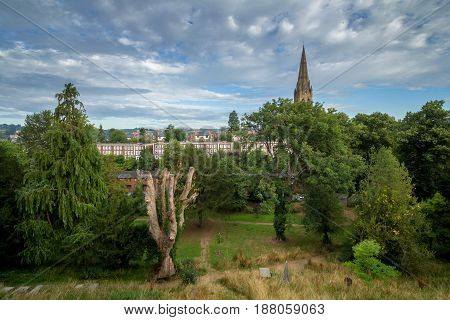 View of the city of Exeter with the church of St. Michael. Devon. UK