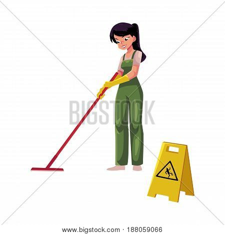 Cleaning service girl, charwoman, cleaner in overalls holding mop, cartoon vector illustration isolated on white background. girl washes the floor with a MOP next to a warning sign, slippery floor