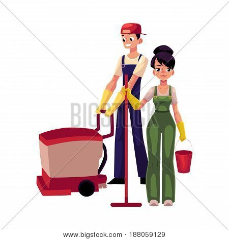 Service workers in overalls, girl with mop and bucket, man, boy using floor cleaning machine, cartoon vector illustration isolated on white background. Cleaning service workers washing the floor