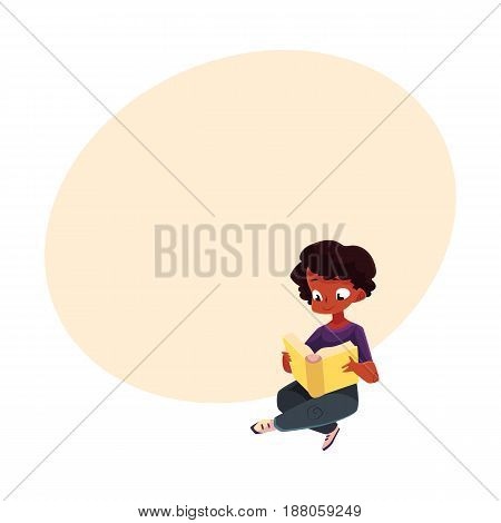 Little black, African American boy, kid reading book sitting with crossed legs on the floor, cartoon vector illustration with space for text. Black, African boy, kid reading book sitting
