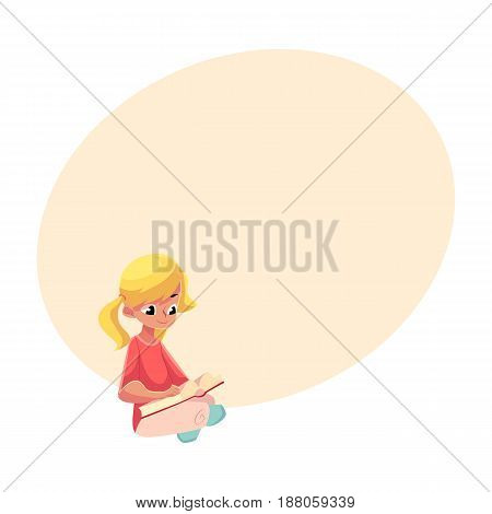 Little blond girl with ponytails reading book sitting with crossed legs on the floor, cartoon vector illustration with space for text. Little girl reading book sitting on the floor