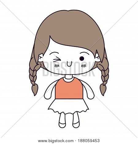 silhouette color sections and light brown hair of kawaii little girl with braided hair and facial expression wink eye vector illustration