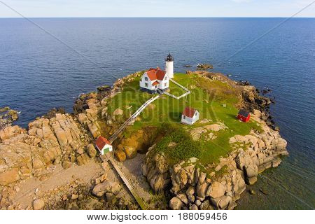 Cape Neddick Lighthouse (Nubble Lighthouse) aerial view at Old York Village, Maine, USA.