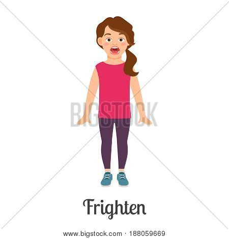 Cartoon Little Frighten Girl