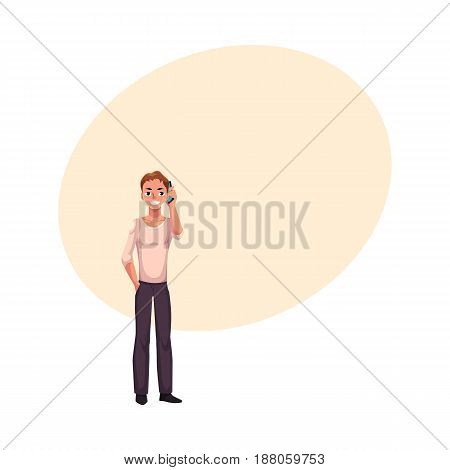 Young man holding smartphone, talking by mobile phone, cartoon vector illustration with space for text. Full length portrait of young man in casual clothing talking by mobile phone