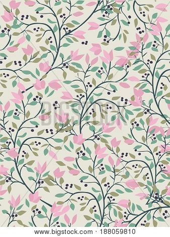 floral vector seamless pattern with pink flowers