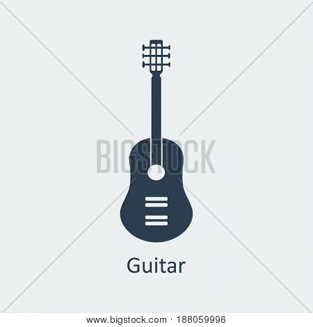Guitar icon. Musical symbol. Silhouette vector icon