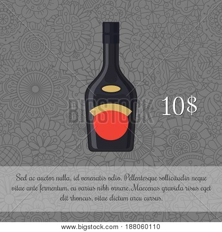 Liquor In Black Bottle Card Template