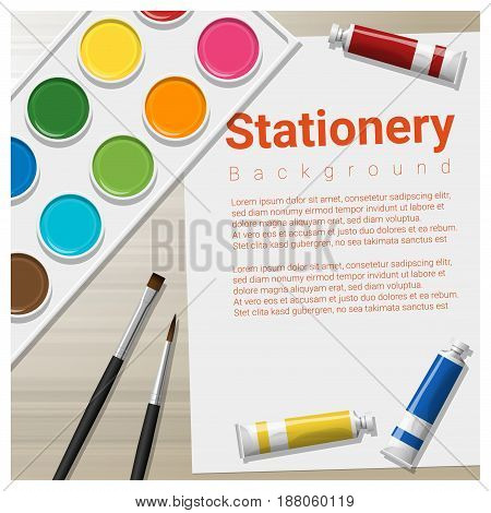 Stationery background with school supplies on wooden table , vector , illustration