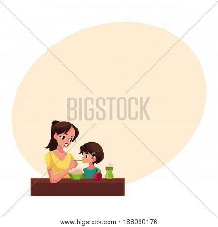 Mother spoon feeding her little daughter sitting at the table, cartoon vector illustration with space for text. Portrait of mother feeding her daughter with porridge sitting at the table