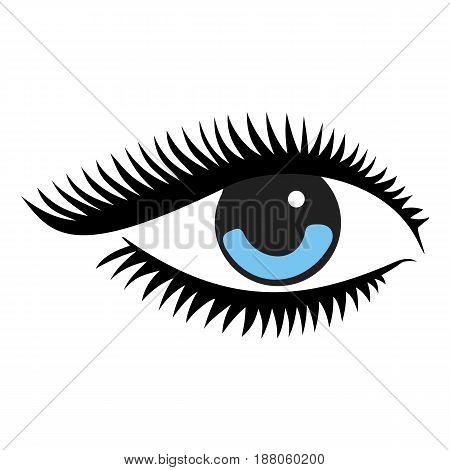 Beautiful woman blue eye. Vector illustration. d