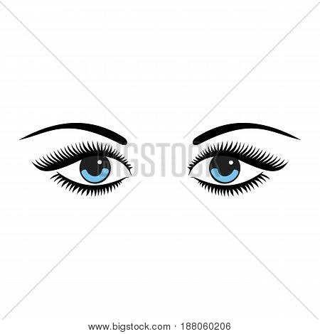 Beautiful women blue eyes with make up