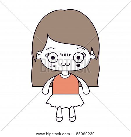 silhouette color sections and light brown hair of kawaii cute little girl with straight hair and facial expression depressed vector illustration