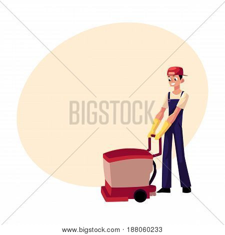 Cleaning service boy, man, cleaner in overalls using floor cleaning machine, front view cartoon vector illustration with space for text. Cleaning service boy with floor washing machine