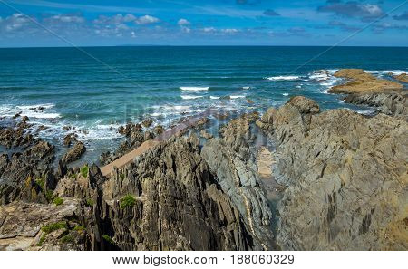 Rocky beach near the beach of Woolacombe. North Devon. England.