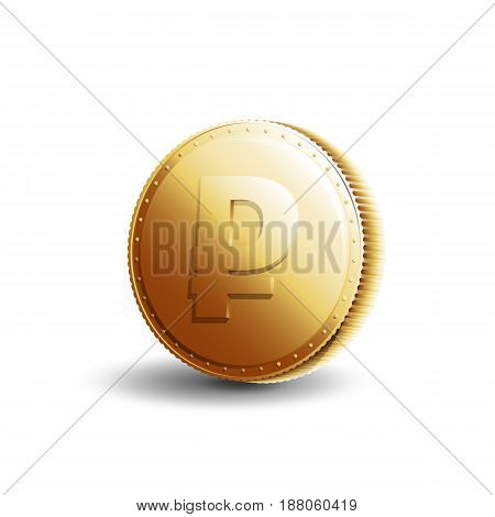 Russian currency. Gold coin with ruble sign isolated on white background. Banking vector illustration.