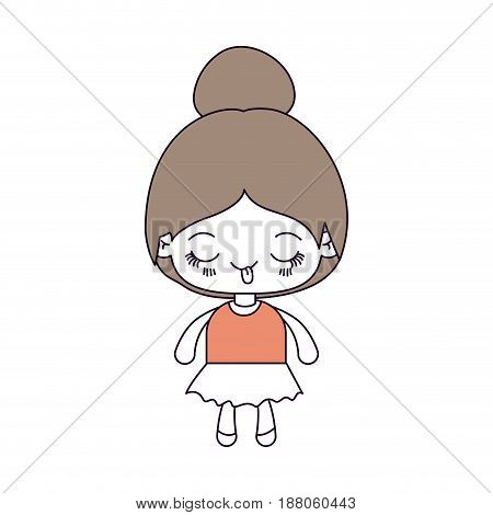 silhouette color sections and light brown hair of kawaii cute little girl with collected hair and funny facial expression vector illustration