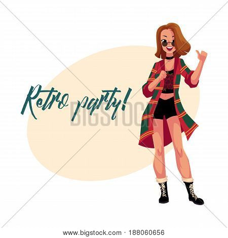 Retro disco party invitation, poster template, layout with woman in 1990s grunge style clothes, flannel shirt, cartoon vector illustration. Nineties style disco party invitation banner poster template