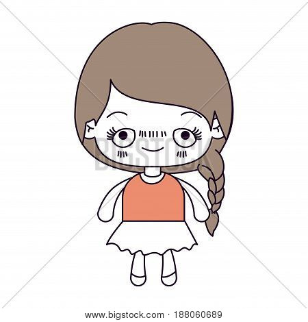 silhouette color sections and light brown hair of kawaii cute little girl with braided hair and embarrassed facial expression vector illustration
