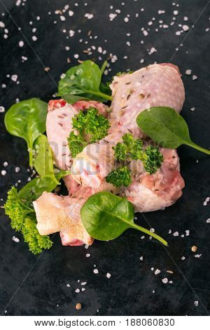 Top View On Three Raw Chicken Legs On Black Tray