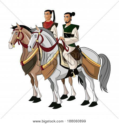 Samurai Warriors Riding Horses, designed on sunset background graphic vector.