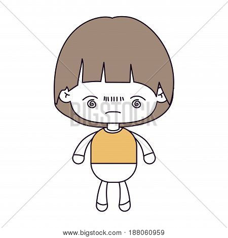 silhouette color sections and light brown hair of kawaii little boy with facial expression bored vector illustration