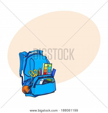 Backpack packed with school items, supplies, sketch vector illustration with space for text. School bag, backpack staffed with personal belongings, school items, stationery objects