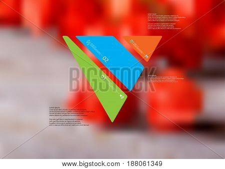 Illustration infographic template with motif of triangle askew divided to three standalone color sections with simple sign number and sample text. Blurred photo is used as background.