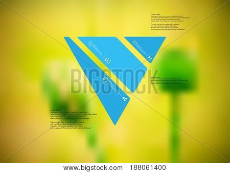 Illustration infographic template with motif of triangle askew divided to three standalone blue sections with simple sign number and sample text. Blurred photo is used as background.