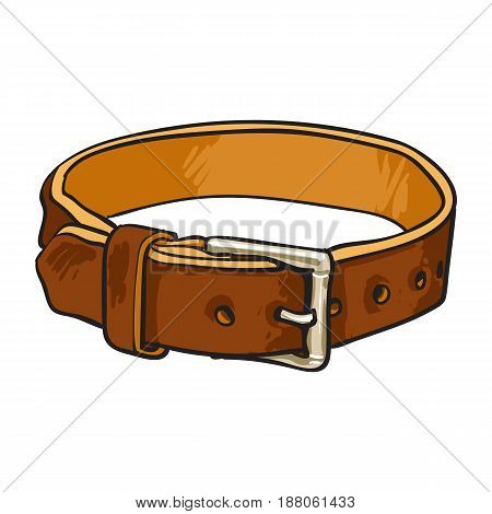 Pet, cat, dog brown leather collar with metal buckle, sketch vector illustration isolated on white background. Hand drawn pet, dog buckle collar made of thick brown leather
