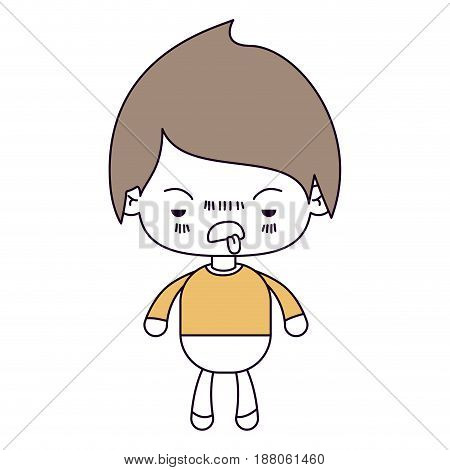 silhouette color sections and light brown hair of kawaii little boy with unpleasant facial expression vector illustration