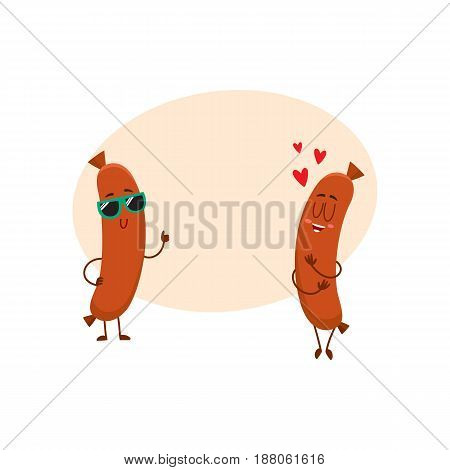 Couple of funny sausage characters, one in sunglasses giving thumb up, another showing love, cartoon vector illustration with space for text. Two sausage characters, mascots, cute and happy