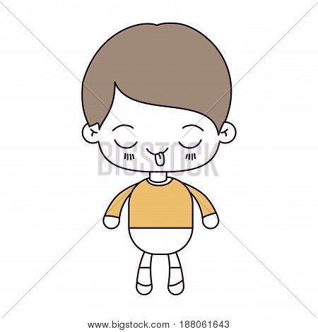 silhouette color sections and light brown hair of kawaii little boy with funny facial expression vector illustration