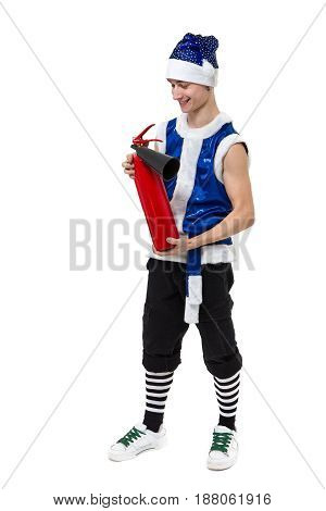 Christmas man in blue santa clothes with fire extinguisher standing against isolated white background