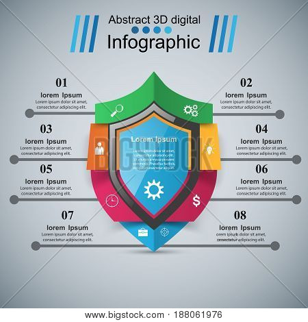 Security abstract infographics. Business icon. Marketing info