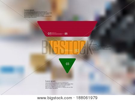 Illustration infographic template with motif of triangle horizontally divided to three standalone color sections with simple sign number and sample text. Blurred photo is used as background.
