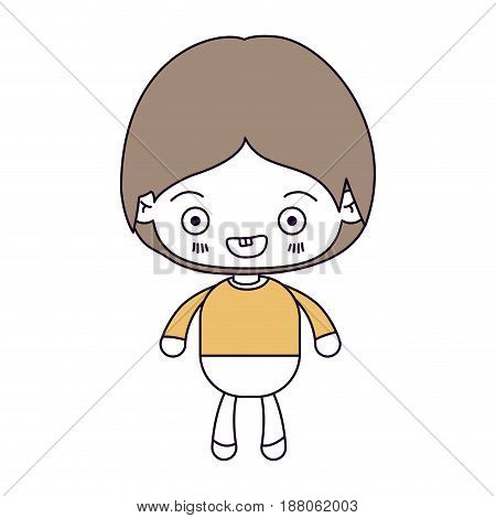 silhouette color sections and light brown hair of kawaii little boy smiling vector illustration
