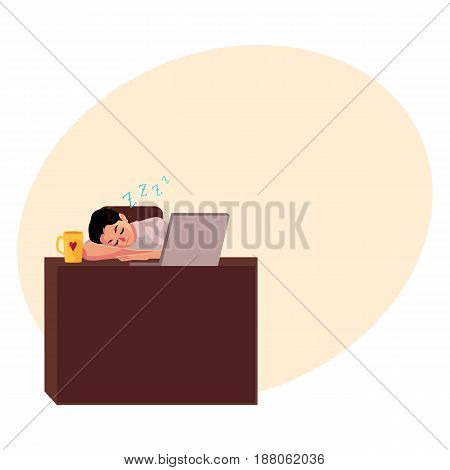 Young businessman, manager sleeping sweetly at office desk, napping on workplace, cartoon vector illustration with space for text. Businessman, worker, employee sleeping in office