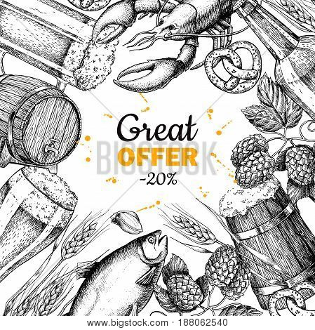 Beer vector discount banner. Alcohol beverage hand drawn special offer. Beer glass, mug, wooden mug, bottle, barrel, snack, hop, wheat, fish, crayfish engraving. Great for bar pub menu oktoberfest