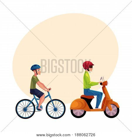 Scooter, moped and bicycle riders, drivers, riders wearing helmet, side vew, cartoon vector illustration with space for text. Motorcycle and bicycle, two types of typical urban transport