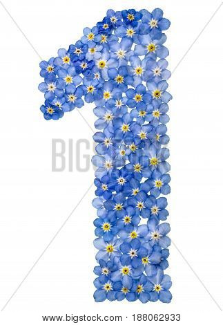 Arabic Numeral 1, One, , From Blue Forget-me-not Flowers