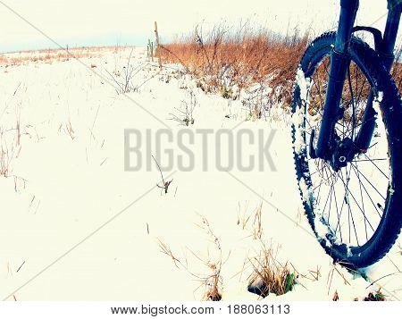The Front Wheel Of Mountain Bike In The First Snow.