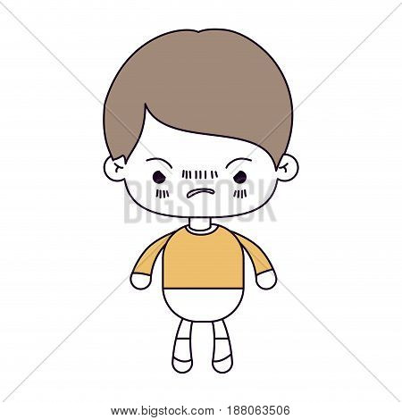 silhouette color sections and light brown hair of kawaii little boy with facial expression angry vector illustration